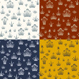 Seamless floral retro pattern of classic style. Set of four pattern color variations Royalty Free Stock Image