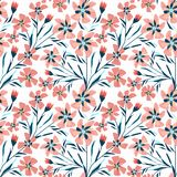 Seamless floral retro pattern.Pink orange flowers, twigs on white background. Retro  background Royalty Free Stock Photos