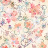 Seamless floral retro pattern with watercolor effect in pastel colors. Colorful background stock illustration