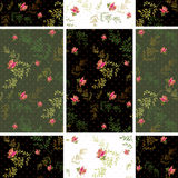 Seamless floral roses pattern dotted background Stock Images