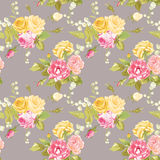 Seamless Floral Shabby Chic Background Stock Photo