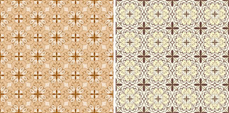 Seamless floral spring patterns. In jrange and brown Royalty Free Stock Image