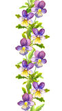 Seamless floral stripe border with botanical painted violet viola flowers Stock Images