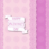 Seamless floral striped pattern. Cartoon ribbon with text Happy Valentines Day Royalty Free Stock Images