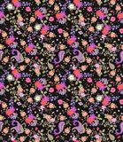Seamless floral summer pattern with paisley, bouquets of roses, daisy, cosmos and bell flowers on black background. Print for fabric, wallpaper, wrapping vector illustration