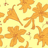 Seamless floral sunny vintage japanese yellow lily pattern Royalty Free Stock Photo