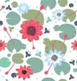 Seamless floral texture with flowers, water lilies, lotus, natural stylish pattern. Vector decorative bright background Stock Photos