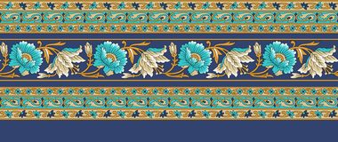 Seamless floral traditional Indian border vector illustration