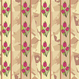 Seamless floral tulip pattern background. Seamless floral tulip pattern beige background Stock Photos