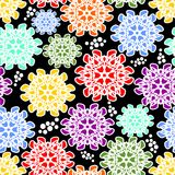 Seamless floral vector in cheerful colors on contrasting black background, white outline Stock Image