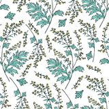Seamless floral vector pattern Artemisia absinthium, wormwood hand drawn colorful ink sketch isolated on white. Background, Also called absinthium, wormwood Stock Photo