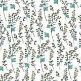 Seamless floral vector pattern Artemisia vulgaris, wormwood common hand drawn colorful illustration on white. Background, Also called absinthium, Absinthe plant vector illustration