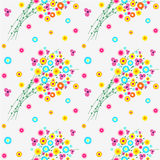 Seamless floral vector pattern, background with colorful wild flowers and leaves, over light backdrop Stock Image