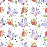 Seamless floral vector pattern. Colorful ornamental background with butterflies and roses. Decorative repeating ornament, Stock Photos