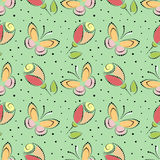 Seamless floral vector pattern. Colorful ornamental background with butterflies and roses Stock Photos