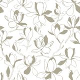 Seamless floral vector pattern with magnolia blossom. Vintage stylized. Modern trendy graphic design template for poster, card, ba vector illustration