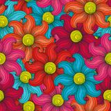 Seamless flower pattern. Seamless floral vector pattern with multicolour stylized flowers in red, pink, blue, orange and yellow colors Royalty Free Stock Photos