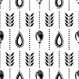 Seamless floral vector pattern. Symmetrcal black and white ornamental background with flowers and leaves. Stock Image