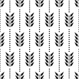 Seamless floral vector pattern. Symmetrcal black and white ornamental background with leaves and dots. Royalty Free Stock Photography