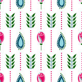Seamless floral vector pattern. Symmetrcal colorful ornamental background with flowers. Decorative repeating ornament, Royalty Free Stock Photo