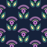 Seamless floral vector pattern. Symmetrcal colorful ornamental background with flowers. Decorative repeating ornament, Stock Image