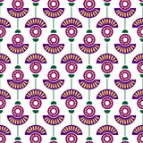 Seamless floral vector pattern. Symmetrcial colorful ornamental background with flowers. Decorative repeating ornament, Series of Floral and Decorative Stock Photography