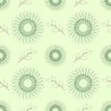 Seamless floral vector pattern; symmetrical abstract background with flowers and leaves; on the light backdrop Stock Photo