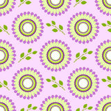Seamless floral vector pattern, symmetrical background with colorful flowers and green leaves, over light violet backdrop Stock Images