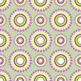 Seamless floral vector pattern, symmetrical background with colorful flowers, over light green backdrop Royalty Free Stock Photo