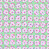 Seamless floral vector pattern, symmetrical background with pink flowers, on the light green backdrop Stock Images