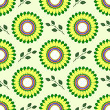 Seamless floral vector pattern, symmetrical background with yellow flowers and green leaves, over light backdrop Stock Photos