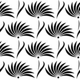 Seamless floral vector pattern.Symmetrical black and white background with flowers. Royalty Free Stock Photo