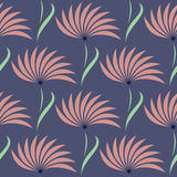 Seamless floral vector pattern.Symmetrical blue background with flowers. Royalty Free Stock Photos