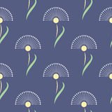 Seamless floral vector pattern.Symmetrical blue background with flowers Royalty Free Stock Image