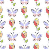 Seamless floral vector pattern. Symmetrical colorful ornamental Stock Photo