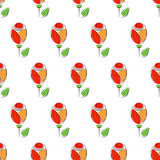 Seamless floral vector pattern. Symmetrical colorful ornamental background with roses. Decorative repeating ornament, Stock Images