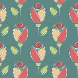 Seamless floral vector pattern. Symmetrical colorful ornamental background with roses. Stock Illustration