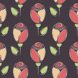Seamless floral vector pattern. Symmetrical colorful ornamental background with roses Royalty Free Illustration