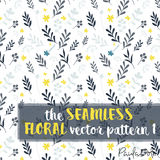 Floral Vetor Pattern - Seamless Vector blue grey and yellow. A seamless floral vector pattern made from leaves and flowers y an greyish blue and yellow color Royalty Free Stock Photography