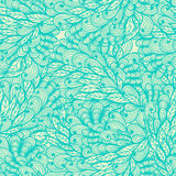 Seamless floral vintage blue doodle pattern Stock Photography