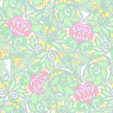 Seamless floral vintage pattern in light, vanilla spring green a Stock Images