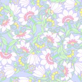 Seamless floral vintage pattern in light, vanilla spring green a Stock Image