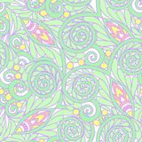 Seamless floral vintage pattern in light, vanilla spring green a Royalty Free Stock Images