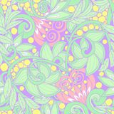 Seamless floral vintage pattern in light, vanilla spring green a Royalty Free Stock Image