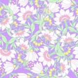 Seamless floral vintage pattern in light, vanilla spring green a Royalty Free Stock Photography