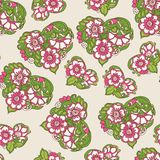 Seamless floral vintage pattern in spring green and pink colors. Stock Images