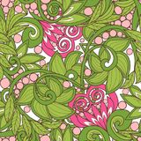 Seamless floral vintage pattern in spring green and pink colors. Stock Image