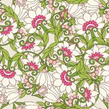 Seamless floral vintage pattern in spring green and pink colors. Royalty Free Stock Image