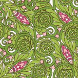Seamless floral vintage pattern in spring green and pink colors. Stock Photo