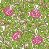 Seamless floral vintage pattern in spring green and pink colors. Royalty Free Stock Photos